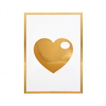 Pozłacany plakat w ramie Serce
