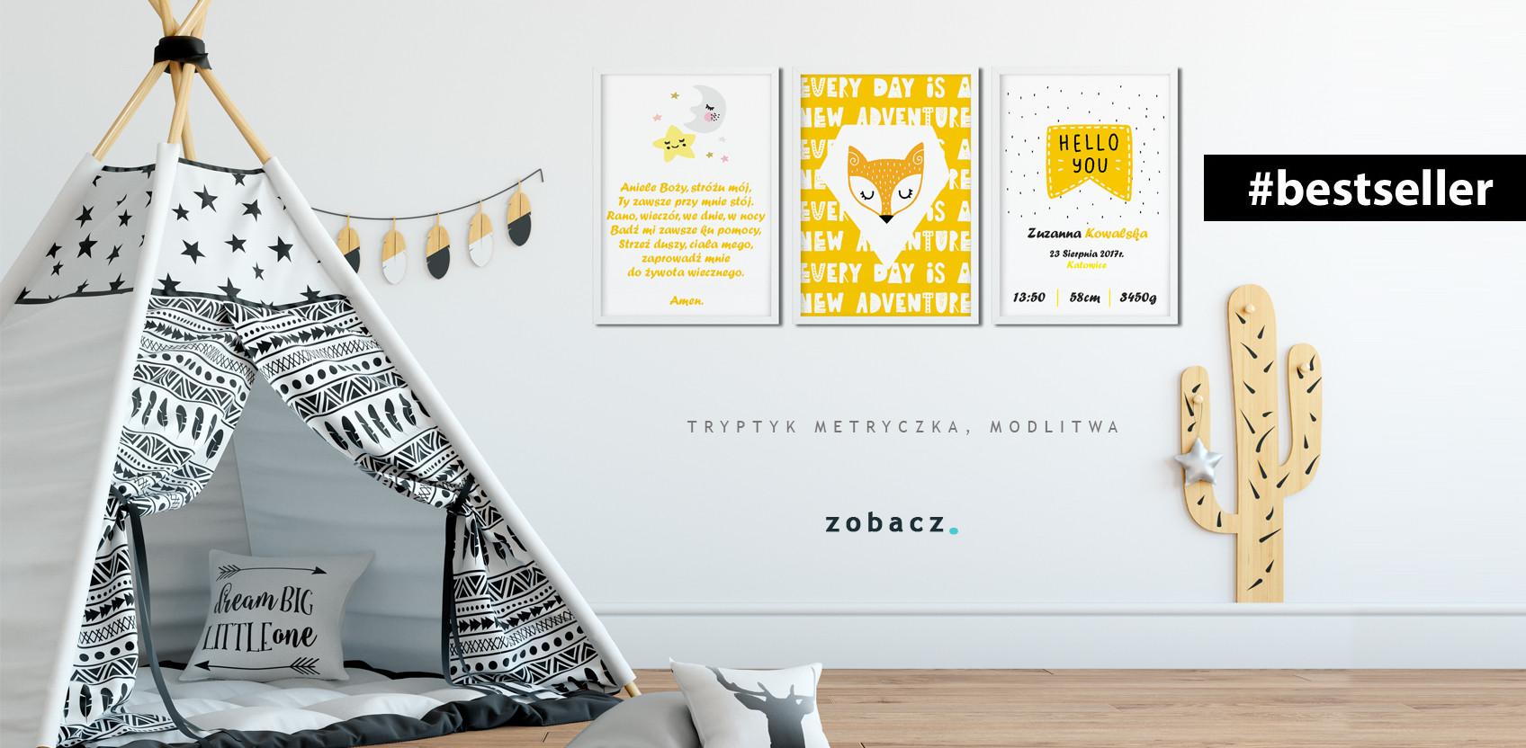 Tryptyk - zestaw 3 plakaty w ramach - modlitwa, metryczka, obrazek